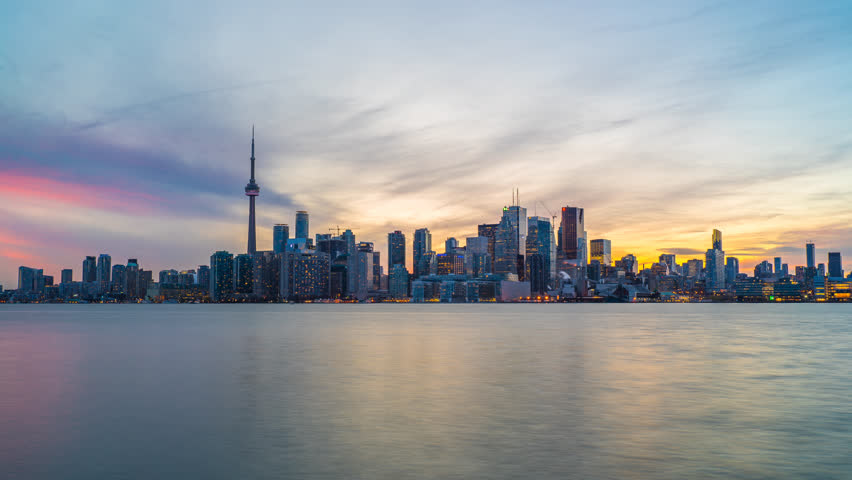 Toronto Skyline Sunset Time Lapse Day to Night 4K 1080P Logos Removed