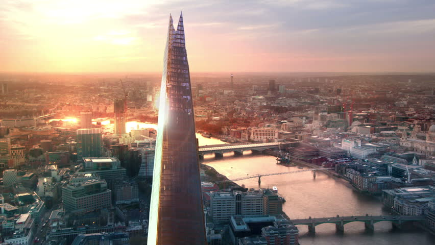 London, sunset. Shard, City of London and River Thames with sun reflection  | Shutterstock HD Video #16142434