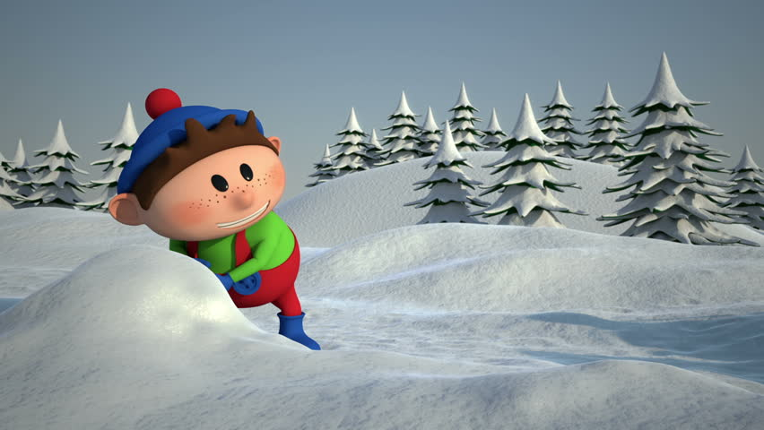 Cartoon Kids Snowball Fight - high quality 3d animation - loopable