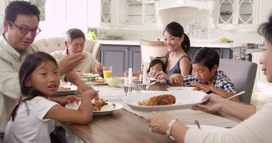 Extended Family Group Eating Meal At Home Shot On R3D