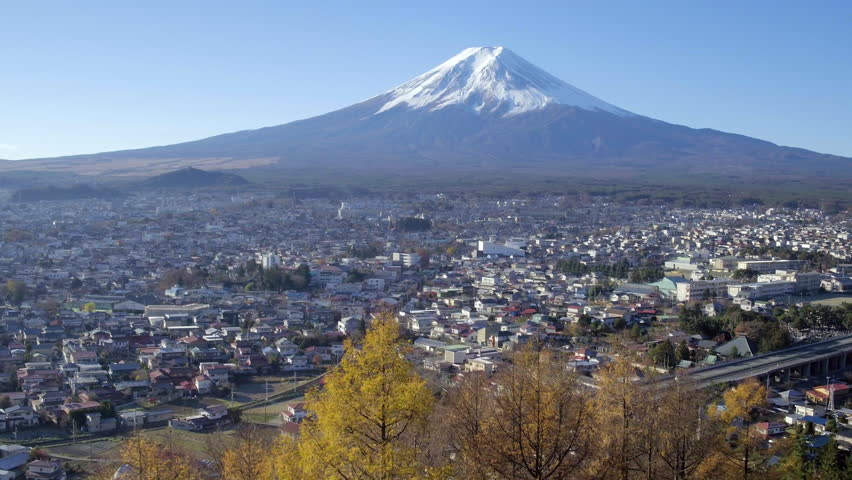 Snowy Mount Fuji and Chureito Pagoda at Arakura-yama Sengen-koen park, Fujiyoshida, Shizuoka, Honshu, Japan - 4K | Shutterstock HD Video #16161040