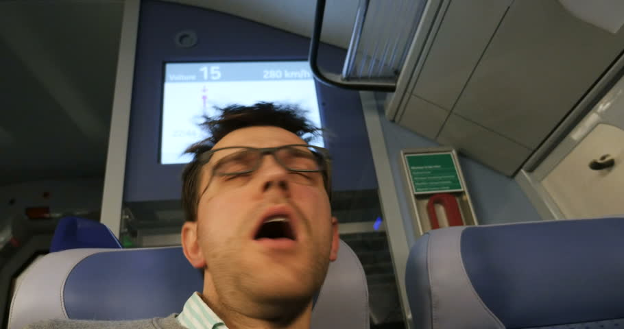 Tired man traveling in ultra fast train - commuting with 280km per hour | Shutterstock HD Video #16174528