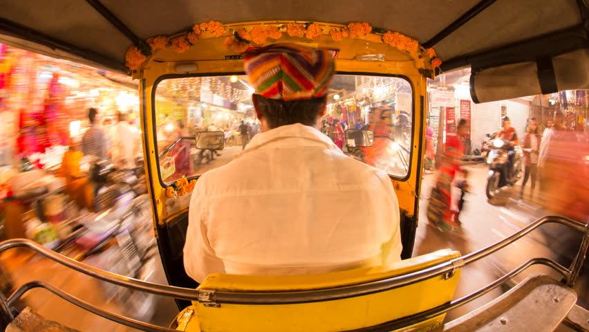 Autorickshaw POV busy illuminated old city streets, Udaipur, Rajasthan, India - 4K timelapse - 01/11/2015   Shutterstock HD Video #16193443
