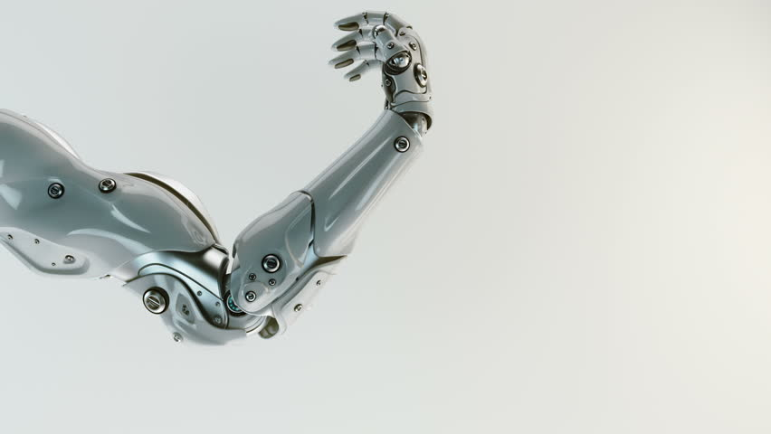 Futuristic artificial replacement part - arm, showing its functionality / Robotic stretching arm, 3d render containing mask and depth  | Shutterstock HD Video #16198219