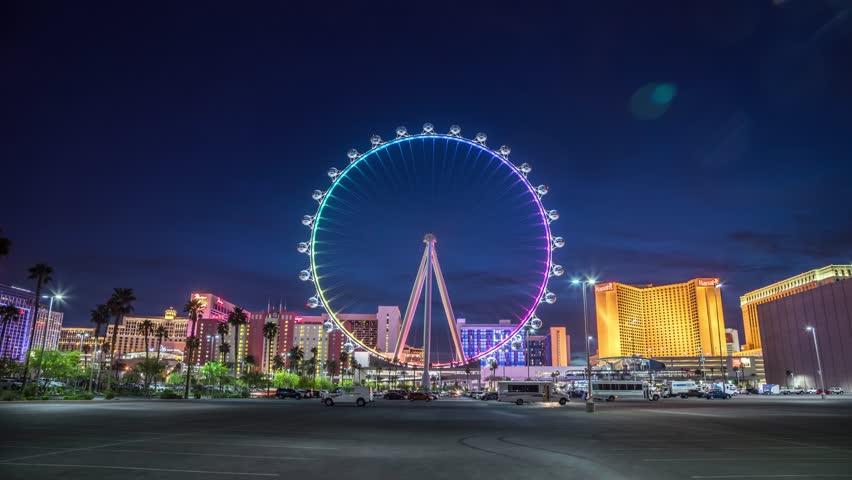LAS VEGAS - April 2016: Las Vegas High Roller Ferris Wheel on the Las Vegas Strip in Paradise, Nevada. It is currently the world's tallest Ferris wheel. 4K UHD Timelapse