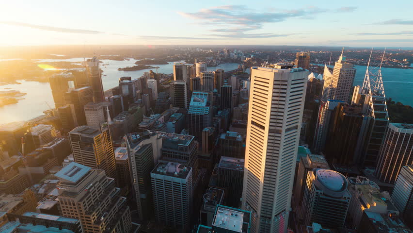 Time-lapse photography Aerial view of the Sydney city skyline | Shutterstock HD Video #16238383