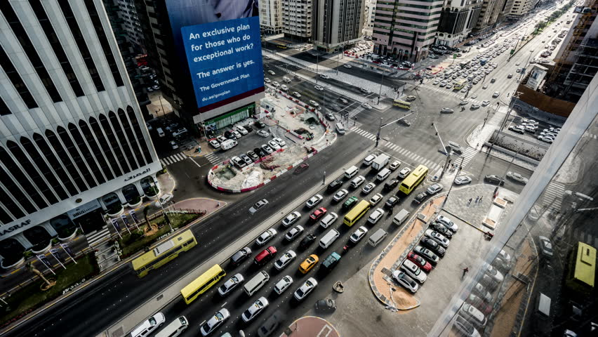 Abu,Dhabi, UAE-Jan 28,2016: Timelapse and aerial view of the transportation in the downtown of Abu Dhabi, UAE