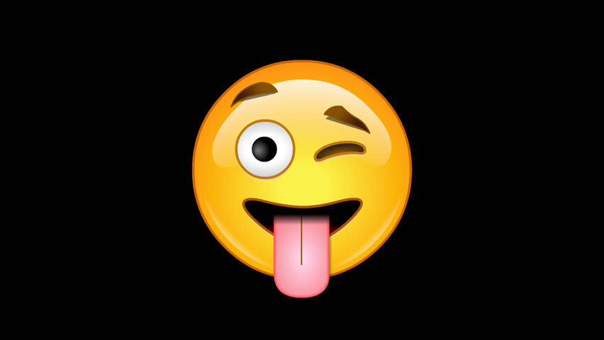 4 emoticons - pack 4 of 6  animated loops alpha channel - emoji: tongue and winking, tongue, cold sweat, money mouth