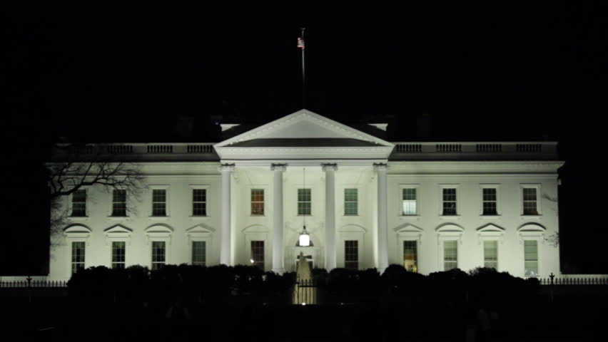 North Lawn of the White House at night in Washington DC