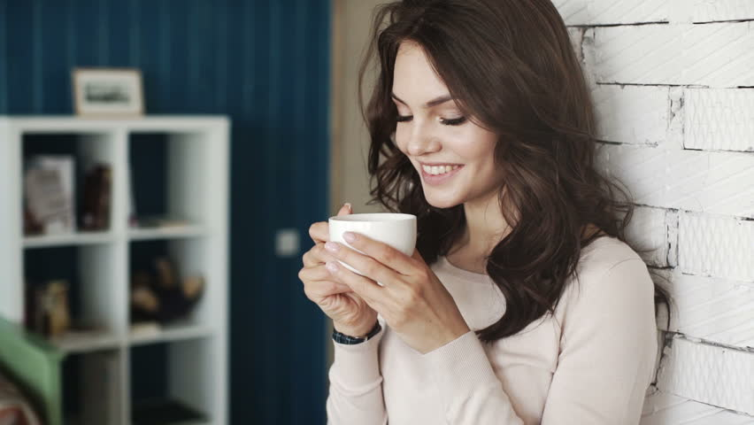 Happy Girl Drinking Coffee and Stock Footage Video (100% Royalty-free)  16256659 | Shutterstock