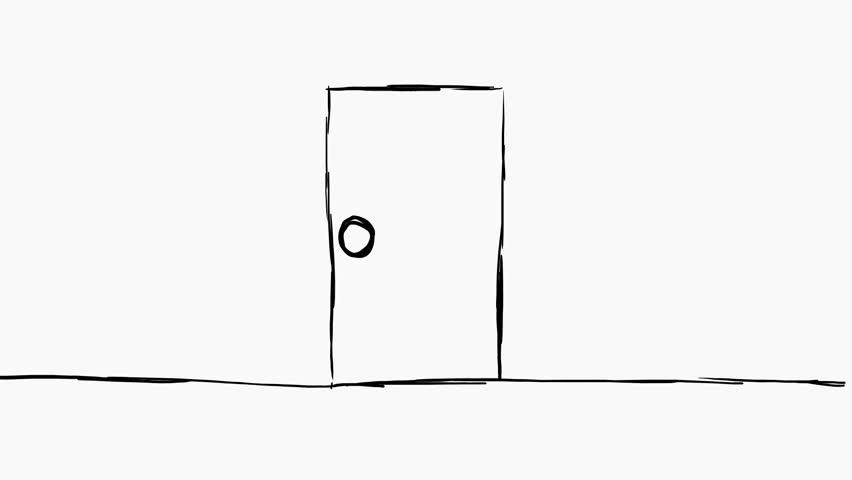 Door hand-drawn - green screen | Shutterstock HD Video #16260802