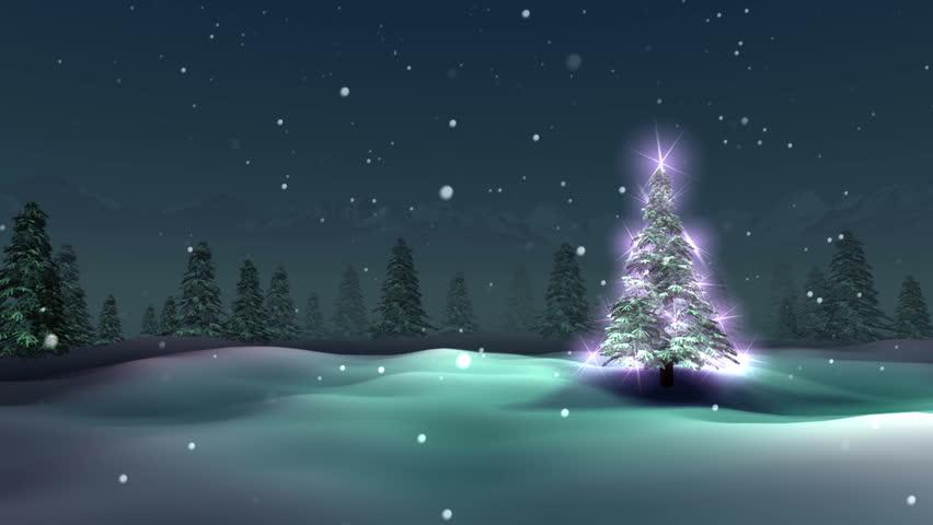 Christmas tree, snowy night, loop | Shutterstock HD Video #1627663