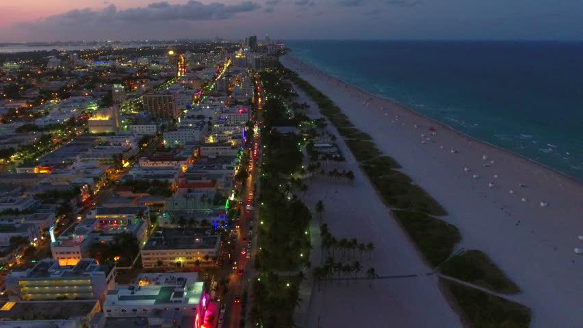 Drone footage Miami Beach at dusk