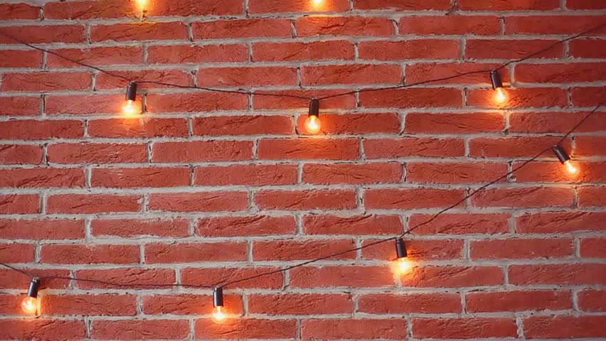 Brick Brown Wall With Lamp Lights