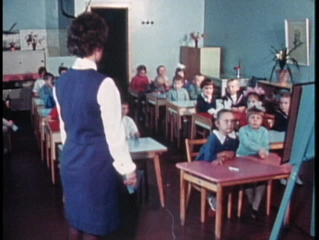 MOSCOW - CIRCA 1970: Russian children in a classroom in the former Soviet Union in Moscow circa 1970