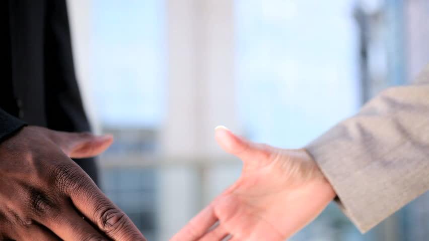 Handshake Greeting Between Multi Ethnic Business People | Shutterstock HD Video #1632067