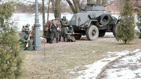 Saint - Petersburg. Russia. March 2016. Reconstruction of the battle of Sestroretsk.