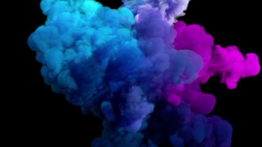 Colored smoke explosion on black (slow motion, with alpha matte, full hd)