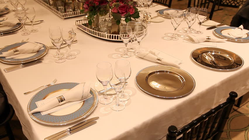 Candle Light Dinner Table Setting Part - 32: Elegant Candlelight Dinner Table Setting At Reception Stock Footage Video  1633837 | Shutterstock