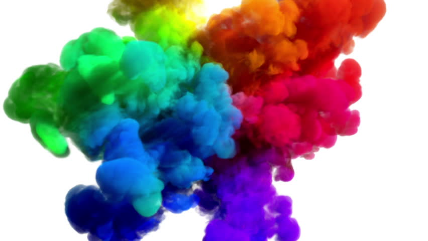 """Colored smoke explosion on white """"Spectrum"""", variation 2 (slow motion, with alpha matte, full hd) 