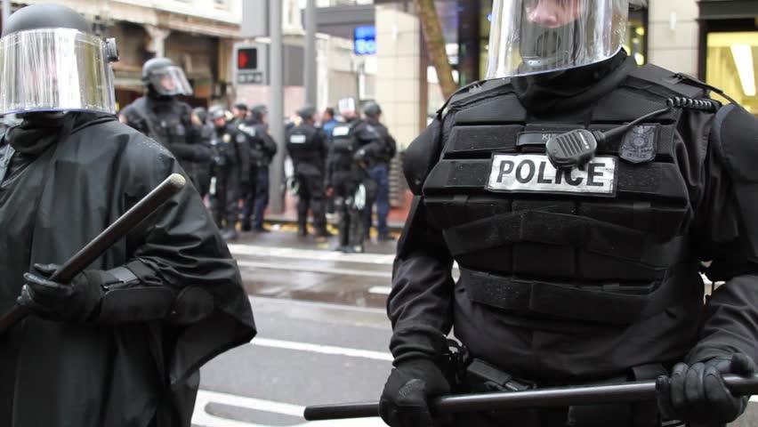 "PORTLAND, OREGON - NOVEMBER 17: Law enforcement at Occupy Portland N17 ""Occupy the Banks"" rally November 17, 2011 in Portland, Oregon."