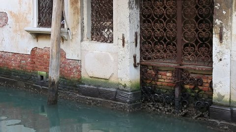 VENICE, ITALY. DECEMBER 03 2013. Water Damage To Venice Building