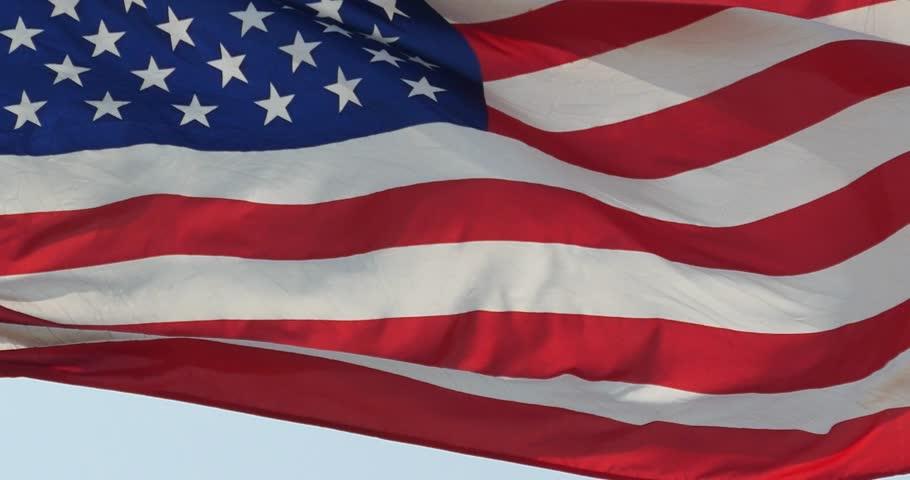 4k American flag is fluttering in wind. | Shutterstock HD Video #16402759