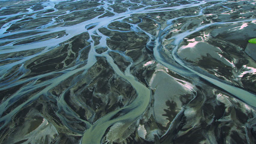 Aerial View of Glacial Meltwater in River Deltas, Iceland