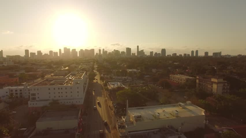 Beautiful Miami Aerial view - Sunset / Sunrise.  Natural Sepia colors of the city.