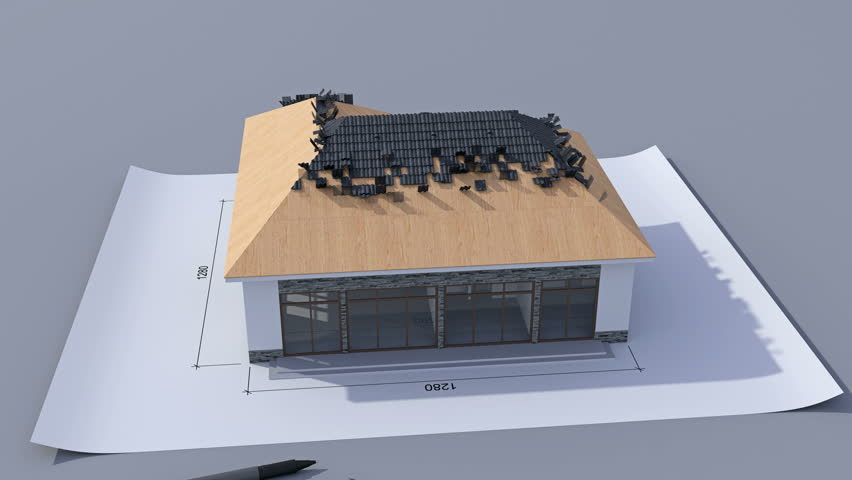 Building a house with a hip roof. Time-lapse 3d animation of house construction - from the blueprints to installation of the roof with pantile roof tile. Top view. 4K
