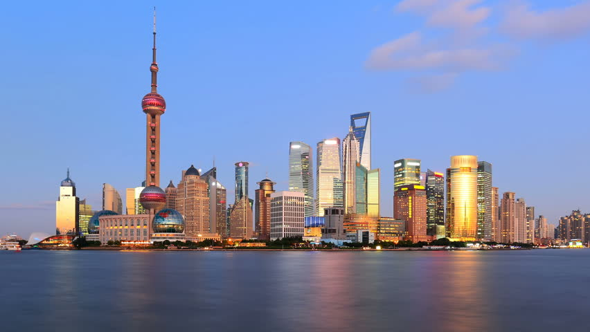 timelapse of shanghai skyline, day to night.