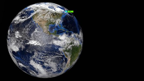 Export containers outwards from Earth USA view illustration