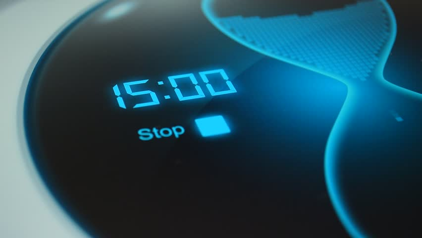 The timer for 15 minutes. Digital timer, countdown 20 seconds. Blue electronic timer with hourglass. Digital stopwatch | Shutterstock HD Video #16442995