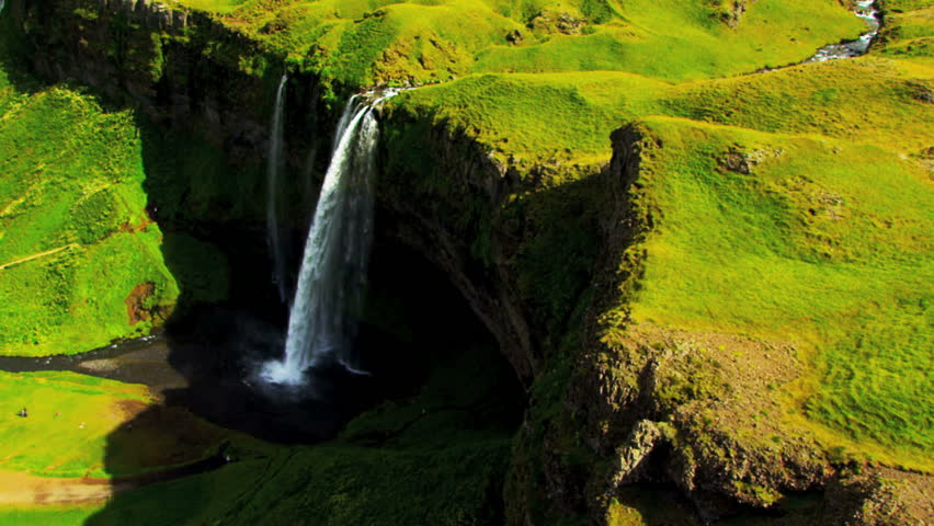 Aerial View of Rugged Ridges & Meltwater Waterfalls, Iceland