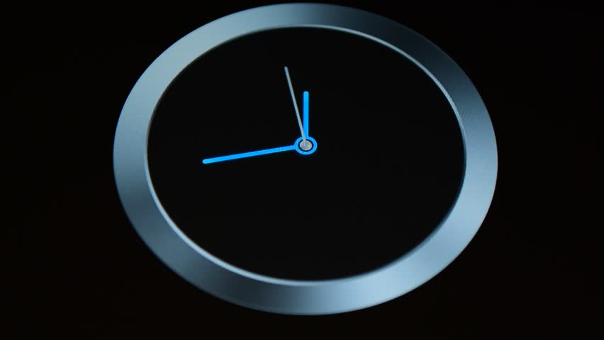 Blue digital clock at black background.  | Shutterstock HD Video #16457572