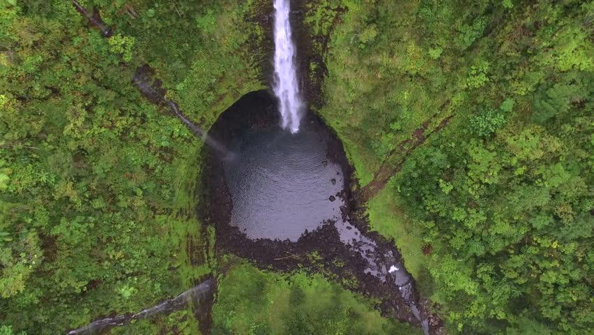 Aerial shot of big waterfall - Akaka falls, Big Island, Hawaii, 2016.