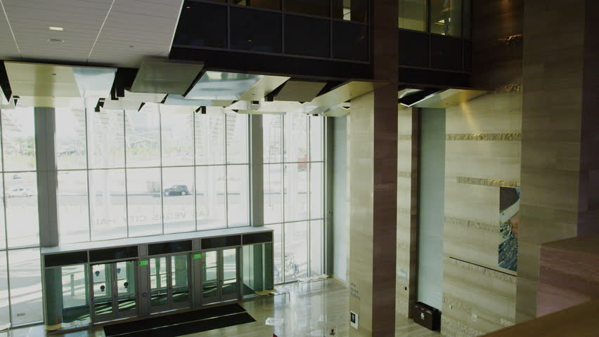 Main entrance from Inside of the New Las Vegas City Hall Lobby Area with Art Displays | Shutterstock HD Video #16466521