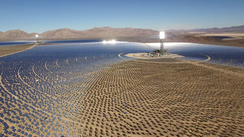 Aerial shot of solar power plant - solar panels, Nevada desert, 2016.