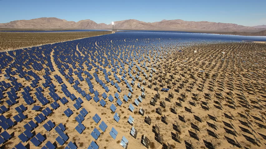 Aerial shot of solar panels - solar power plant, Nevada desert, 2016.