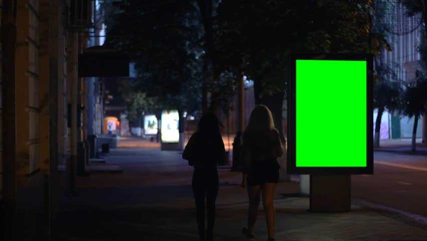Girls walking down the street at night, Billboard template, green screen #16480126