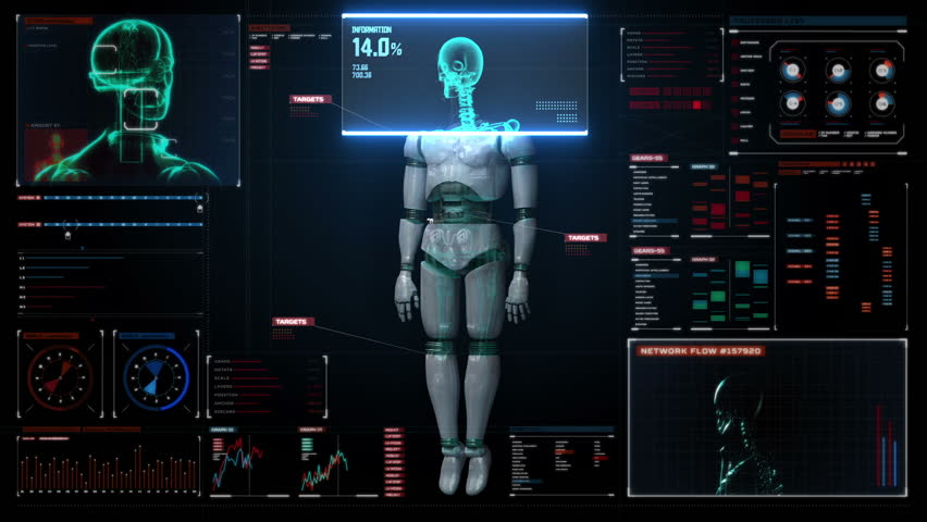 Scaning human skeletal structure inside Robot. bio technology.in digital medical display. user interface.