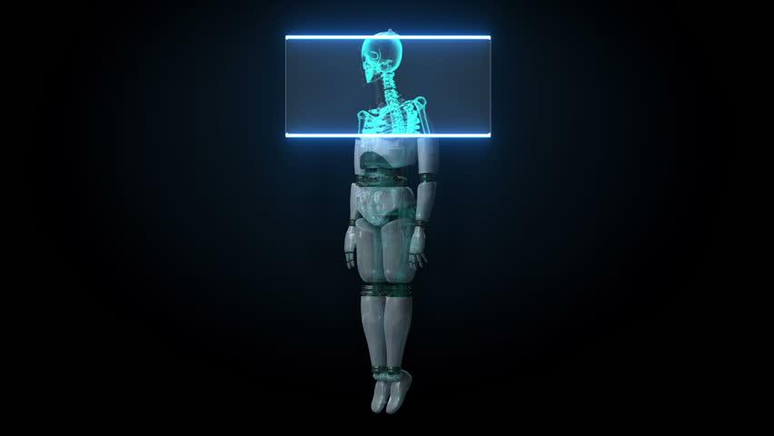 Scanning human skeletal structure inside Robot. bio technology.