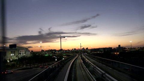 MIA Mover Train at Miami Airport connecting the terminals - MIAMI, FLORIDA APRIL 10, 2016