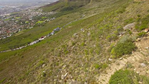 Cape Town city 4K UHD aerial footage of Table Mountain Cable Car Station. Part 4 of 5