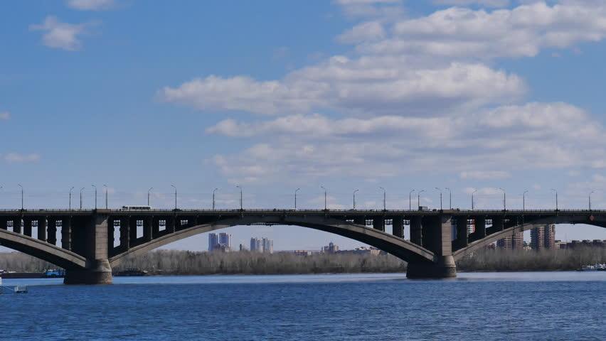 Road bridge in Krasnoyarsk. Timelapse | Shutterstock HD Video #16525504