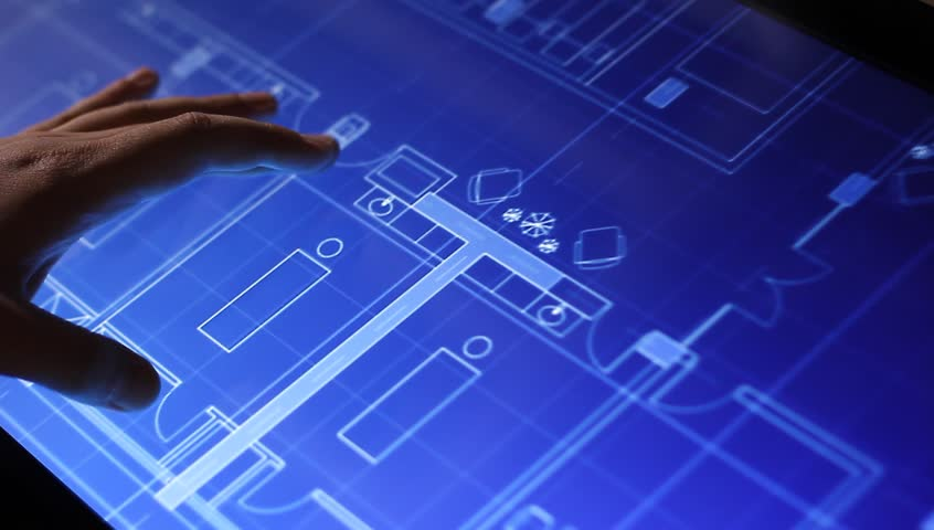 MOSCOW, RUSSIA, MAY 19, 2015: Architecture blueprint drawing on touch screen computer in