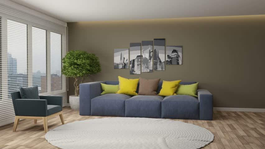Building Up Modern Living Room. 3d illustration