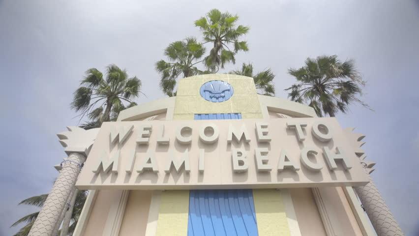 Miami Beach Sign in South Beach Miami FL