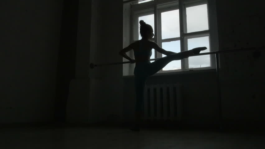 Silhouette of a Ballet Dancer Exercising at The Barre By The Window | Shutterstock HD Video #16566724