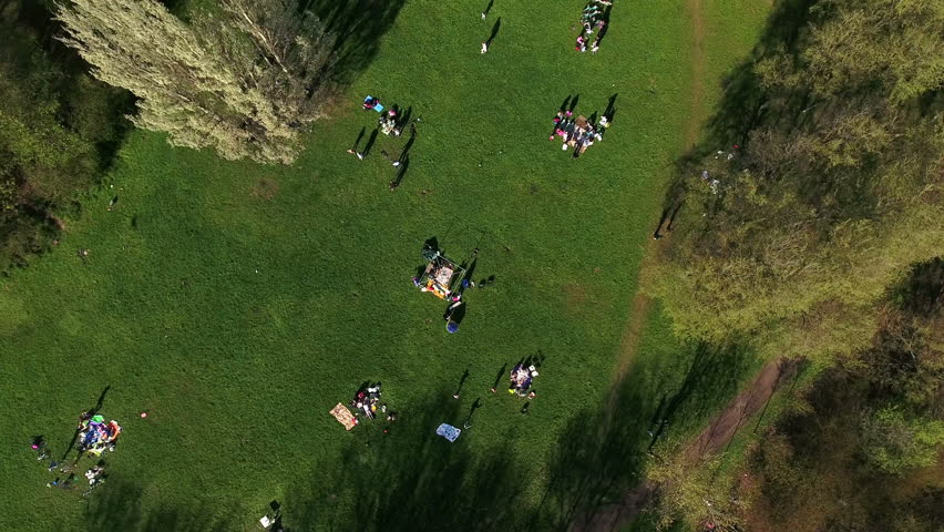 Top view of people resting in the spring park and making barbecue at May weekend, St. Petersburg, Russia | Shutterstock HD Video #16569337